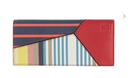 Long Horizontal Wallet Stripes Red/Tan/Multicolor