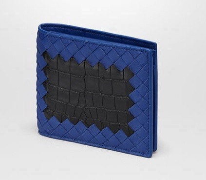 コバルトブルー イントレチャート ナッパ ネロ クロコダイル コインケース付き二つ折りウォレット
